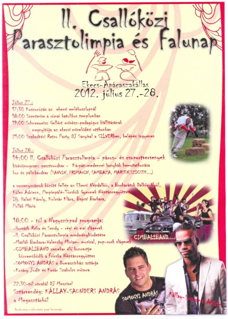 Falunapi program Ekecs-Apácaszakállas 2012
