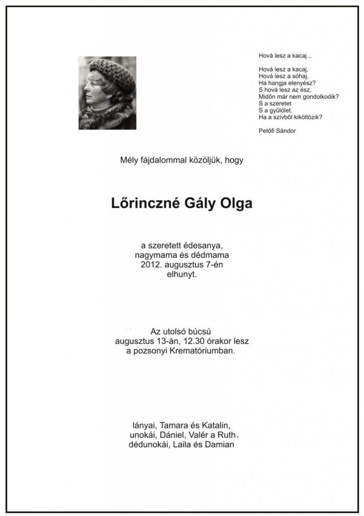 Elhunyt L. Gály Olga